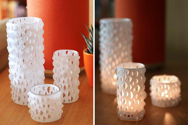cut paper candle holders - Diy Candle Holders