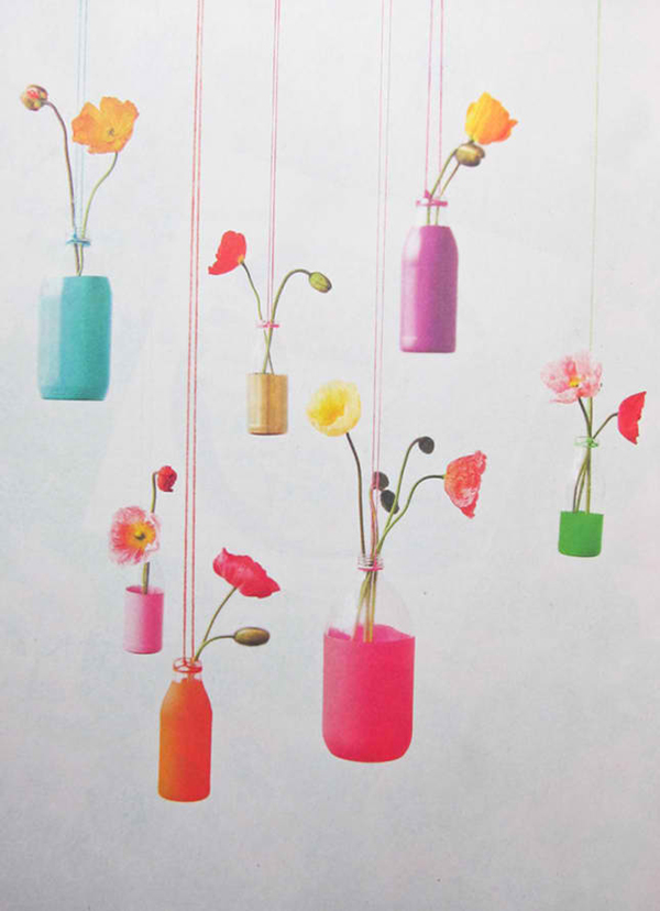 DIY Recycled Bottles Hanging Vases