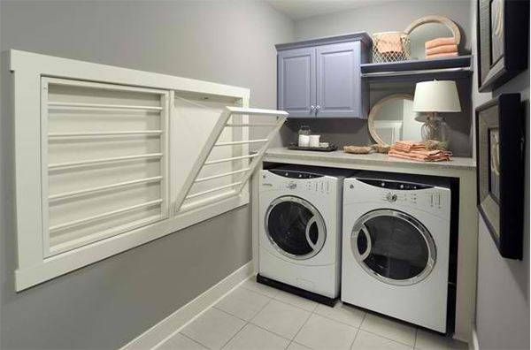 gray laundry area