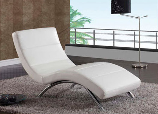 Leather White Lounge Chaise