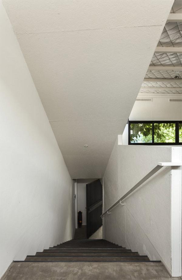 long narrow stairway