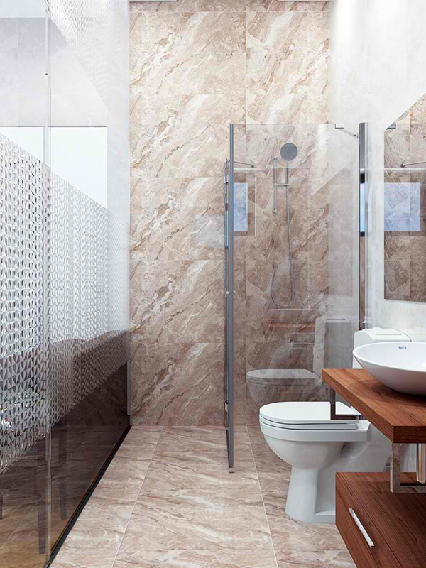 Use clear glass for the shower