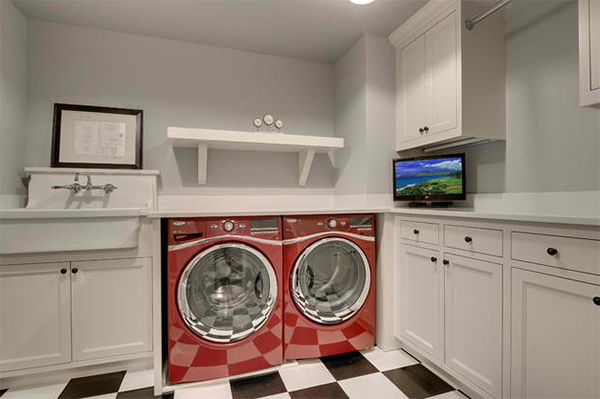 red dryer washer