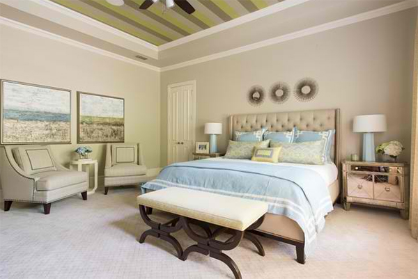 striped ceiling bedroom