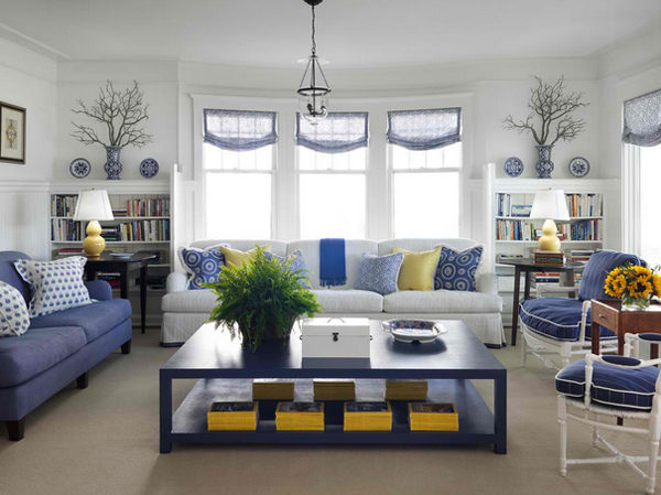 20 Amazing Blue Black White Yellow Living Rooms | Home ...