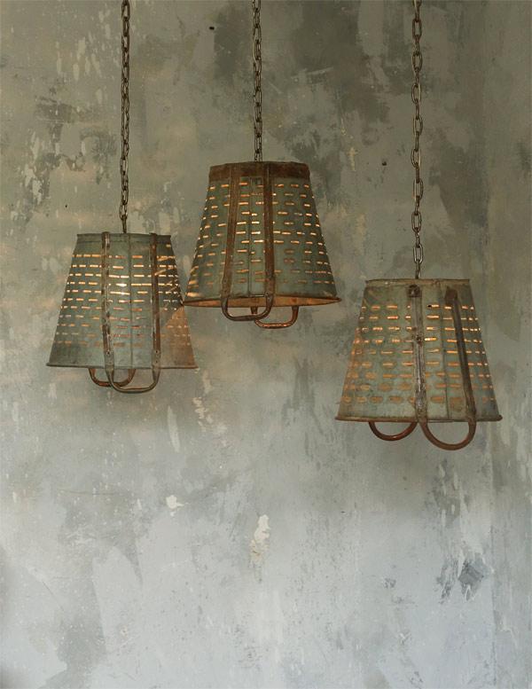 zinc buckets chandelier