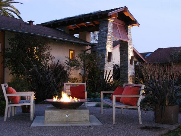 bowl fire pit patio