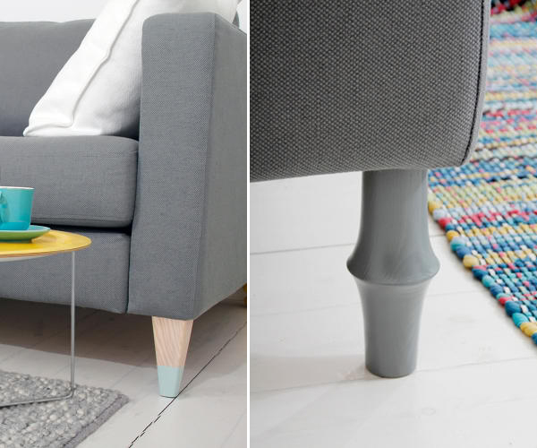 Prettypegs interchangeable legs to add style to ikea for Ikea sofa legs interchangeable