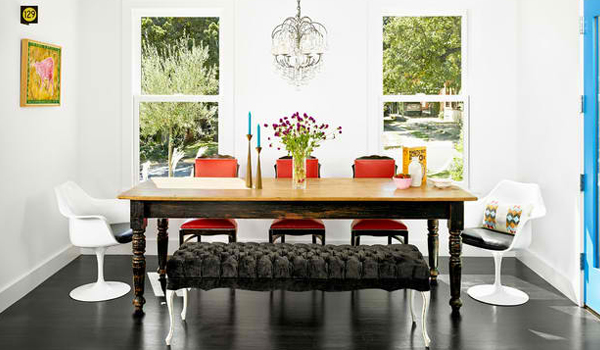 Create contrast with modern and vintage chairs