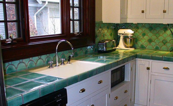 Elegant Kitchen Tile Countertops