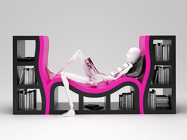 bizarre design of bookshelf