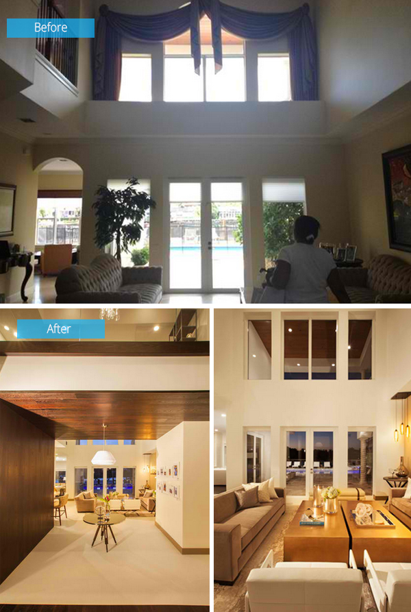 Before and after from a mediterranean house to a lovely modern home in fort lauderdale home for Interior designers fort lauderdale