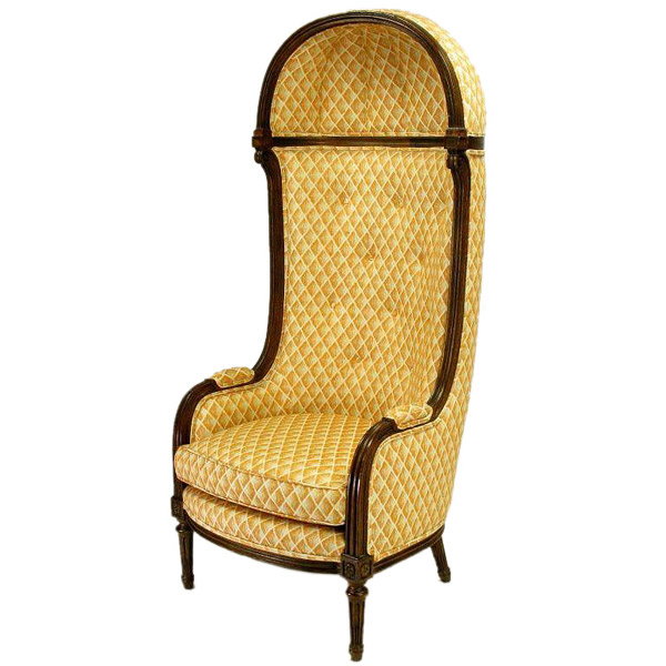 Interior Crafts This Canopy Chair Is A Classic French Form. It Is Made With  Walnut Frames And An Upholstered Diamond Pattern.