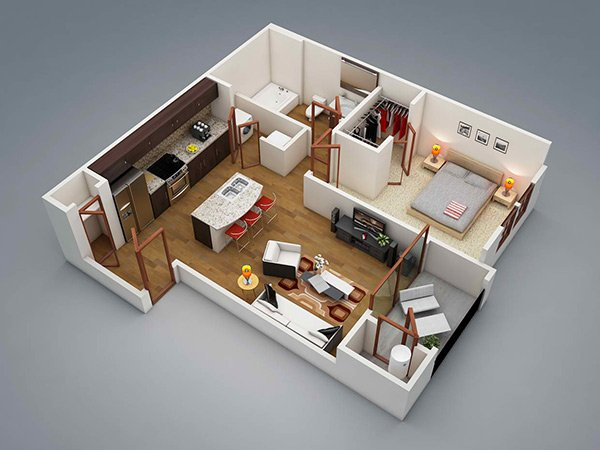 one bedroom apartment plan - One Bedroom