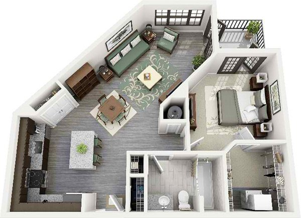 20 One Bedroom Apartment Plans For Singles And Couples Home Design Lover