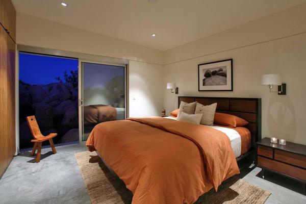 orange brown bedroom