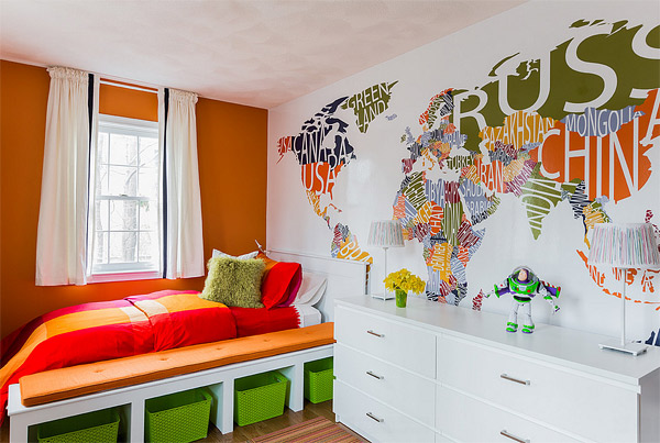 Cute Wall Decals And Murals For Kids Bedroom Home Design Lover - Kids world map wall decal