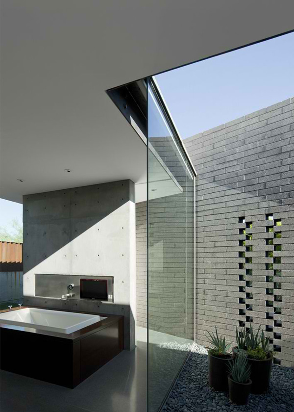bathroom glass wall