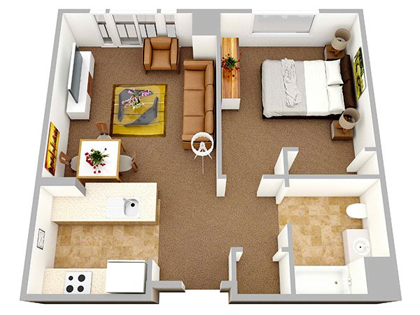 20 one bedroom apartment plans for singles and couples for Small apartment layout plans