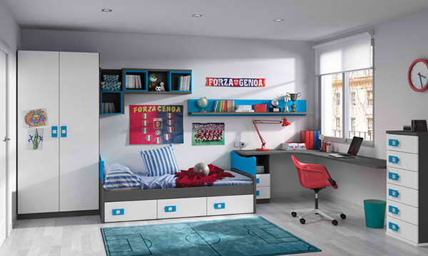 blue accent bedroom
