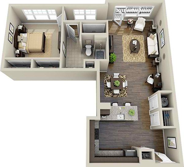 L-shaped apartment