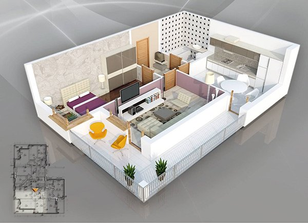 20 One Bedroom Apartment Plans for Singles and Couples ...