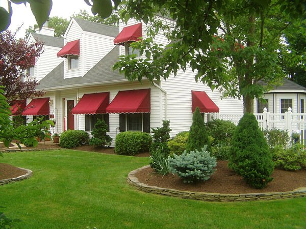 red traditional awning