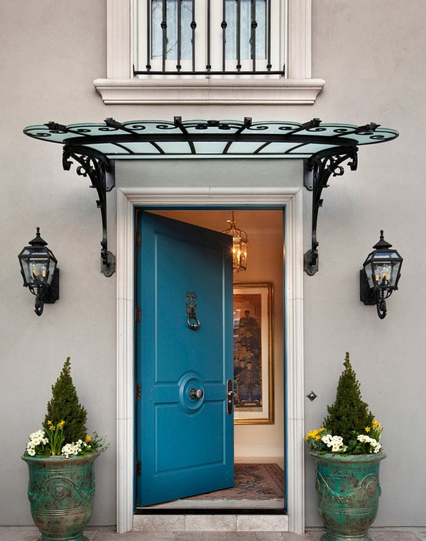 Add decors to your exterior with 20 awning ideas home for Exterior door awnings