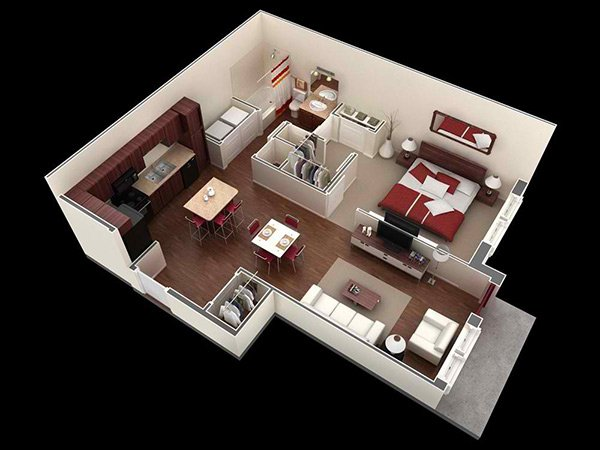 40 One Bedroom Apartment Plans For Singles And Couples Home Design Cool One Bedroom House Designs