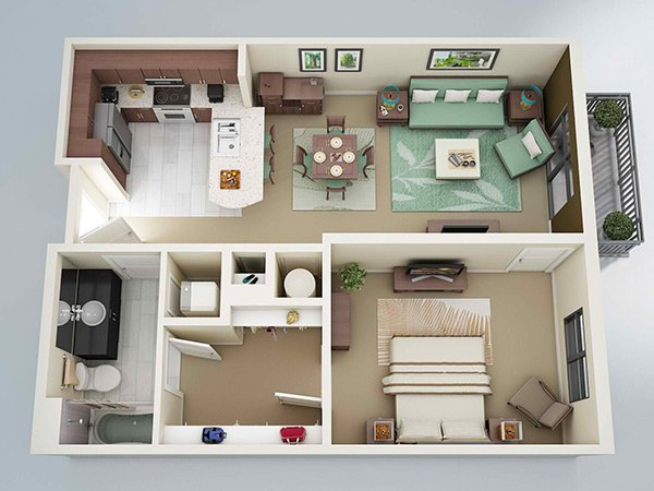 20 One Bedroom Apartment Plans for Singles and Couples | Home Design ...