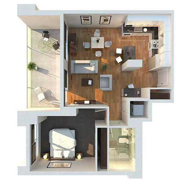 20 One Bedroom Apartment Plans For Singles And Couples Home Design Lover,Typography Logo Designs