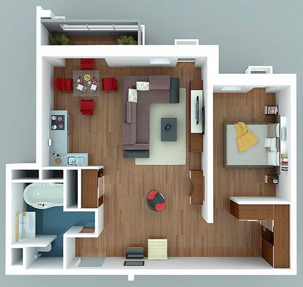 One Bedroom Apartment Plans For Singles And Couples Home