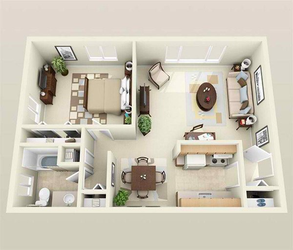 Contemporary apartment20 One Bedroom Apartment Plans for Singles and Couples   Home  . One Bedroom Apartment. Home Design Ideas