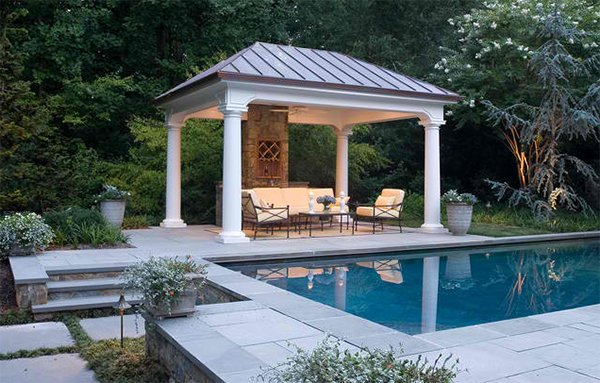 20 amazingly gorgeous gazebo lighting home design lover for Pool design with gazebo