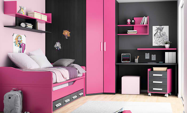 black pink kids room