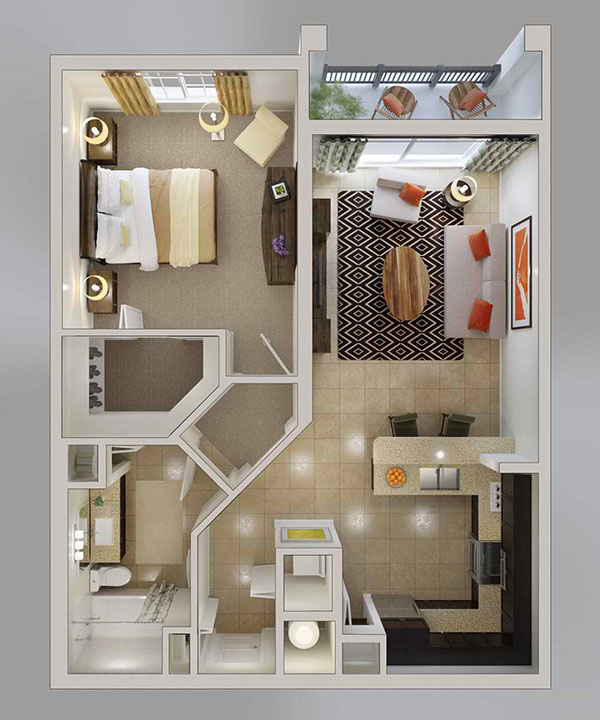U shaped kitchen20 One Bedroom Apartment Plans for Singles and Couples   Home  . One Bedroom Apartment. Home Design Ideas