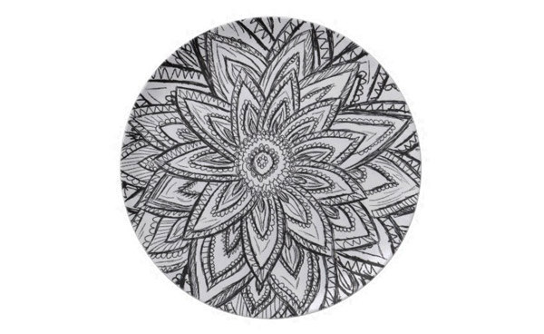 Retro Black and White Abstract Flower Sketch Party Plates