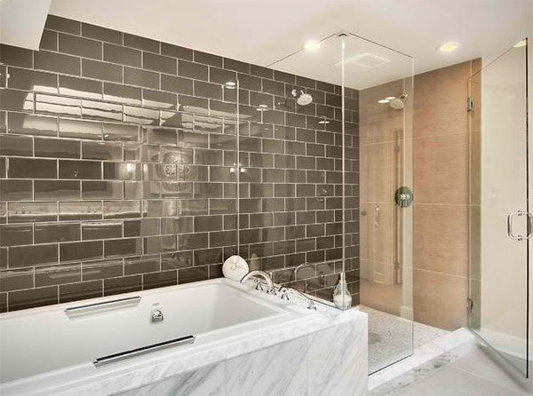 bathroom subway tile. Modern Master Bathroom Subway Tile