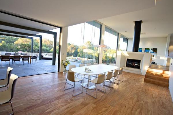 dining area fireplace