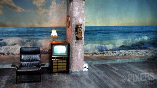 beach waves mural