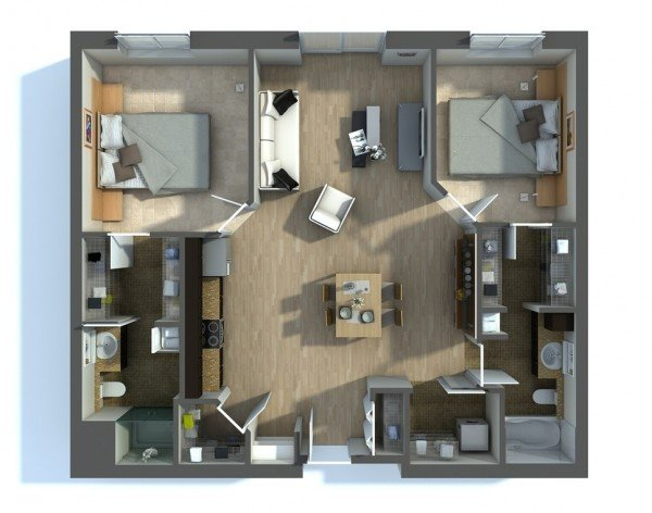 Exceptionnel Two Bedroom Apartment Plans