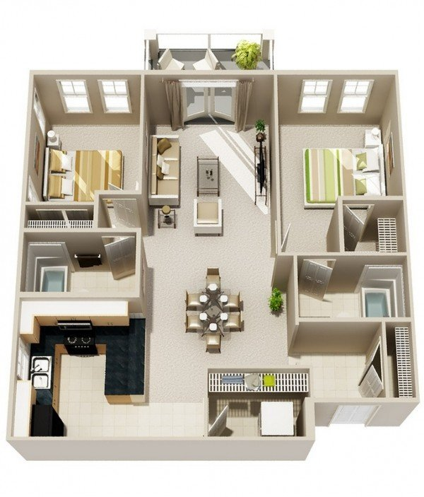 48 Interesting TwoBedroom Apartment Plans Home Design Lover Awesome Apartment Floor Plan Design
