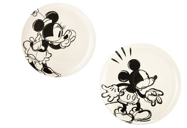 Disney Black and White Mickey and Minnie Mouse Plates