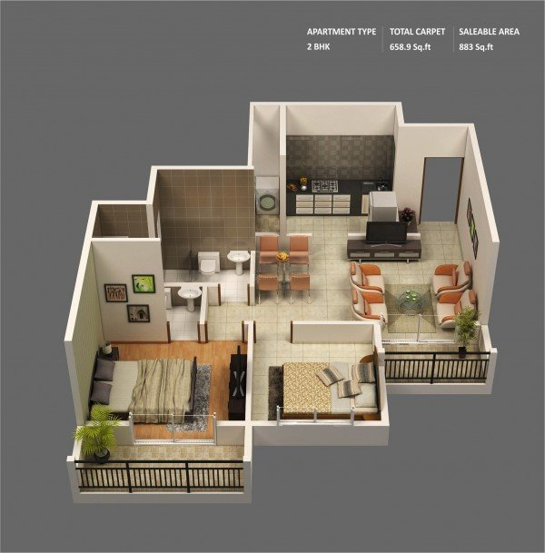 20 Interesting Two Bedroom Apartment Plans Home Design Lover