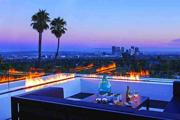 luxury outdoor fireplace