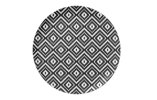 Black and White Aztec Tribal Print Party Plates
