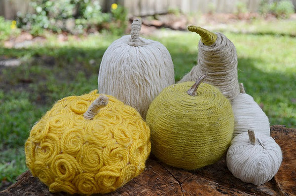 Yarn Wrapped Gourds Pumpkins
