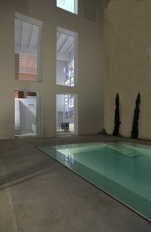white concrete pool