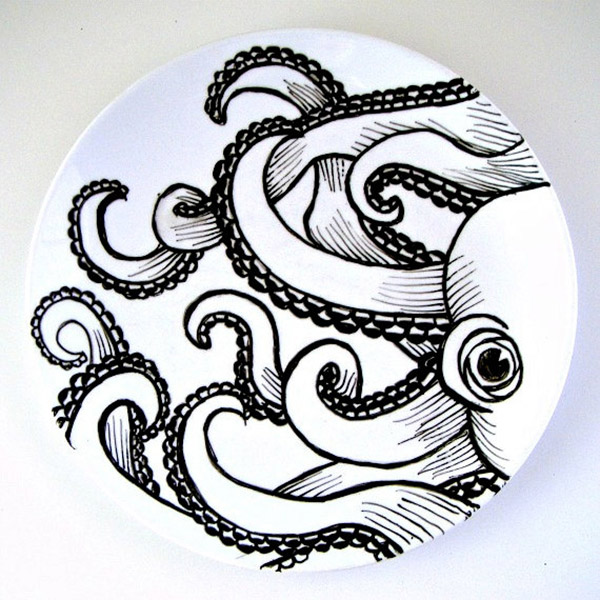 Octopus Plate Black White Hand Painted