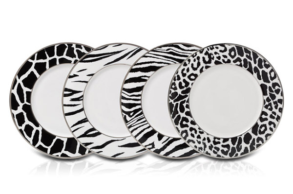 Mikasa Color Studio Black and White Animal Print Accent Plates